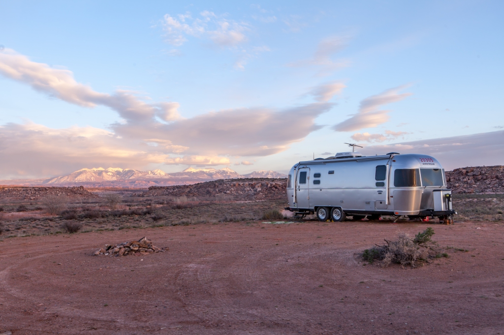 Airstream trailer parked in the desert