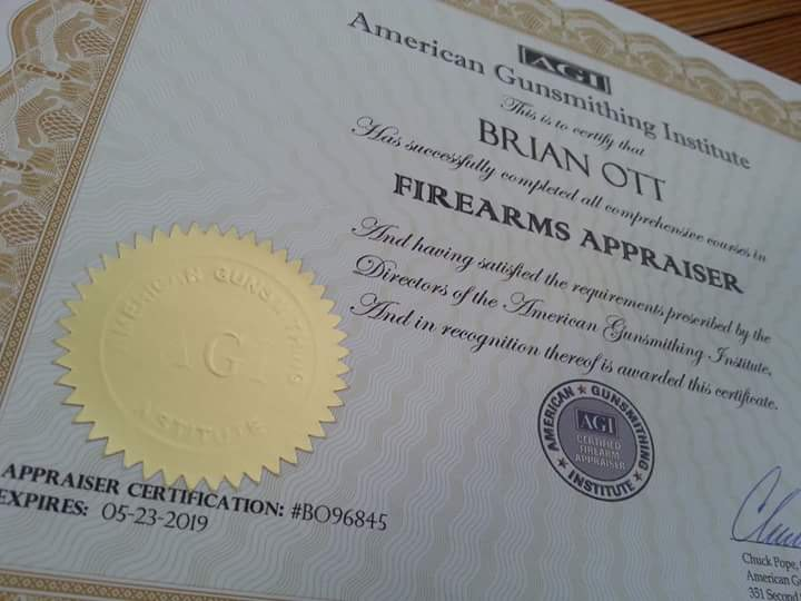 Brian is an AGI Certified Firearms Appraiser